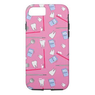 Coque iPhone 8/7 Hygiéniste dentaire d'outils et rose de