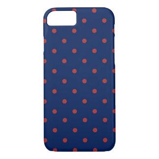 Coque iPhone 8/7 Indigo et rouge de point de polka