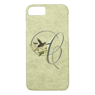 Coque iPhone 8/7 Initiales C d'oiseau chanteur