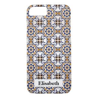 Coque iPhone 8/7 Jaune bleu d'Azulejo de Portugais frais