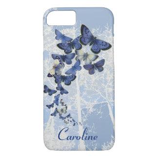 Coque iPhone 8/7 Kaléidoscope fait sur commande des papillons bleus