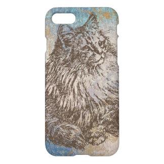Coque iPhone 8/7 Kitty vintage en bleu, brun et or