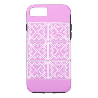 Coque iPhone 8/7 La conception géométrique de rose et blanche d'art