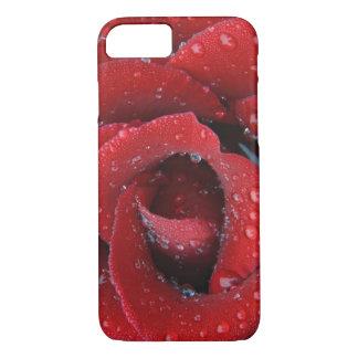Coque iPhone 8/7 La rosée a couvert le rose rouge décorant le site