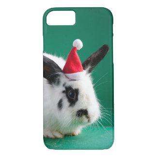 Coque iPhone 8/7 Lapin noir et blanc dans le casquette de Noël