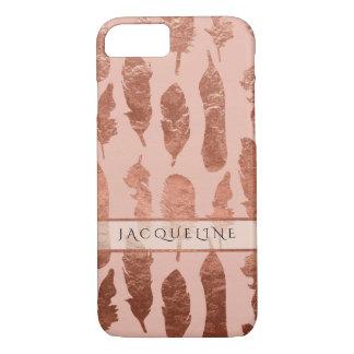 Coque iPhone 8/7 L'aquarelle rose de Faux de feuille d'or de plumes