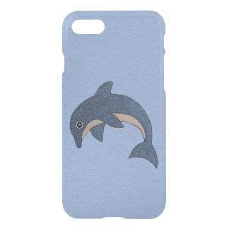 Coque iPhone 8/7 Le blanc bleu-foncé vibrant de dauphin miroite sur