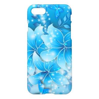 Coque iPhone 8/7 Le bleu de ciel fleurit l'art de vecteur