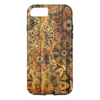 Coque iPhone 8/7 le bois vintage fleurit l'art de vecteur