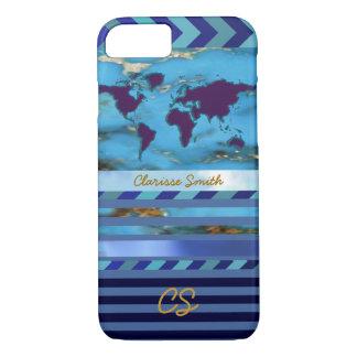 Coque iPhone 8/7 le monde, les rayures et le nom sur turquoise-bleu