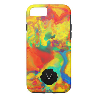 Coque iPhone 8/7 Le pétrole et l'eau jaunes criards de monogramme