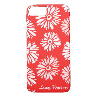 Coque iPhone 8/7 Le rouge fleurit la caisse de l'iPhone 7