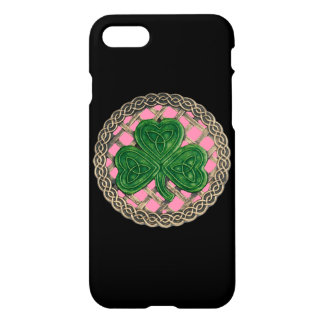 Coque iPhone 8/7 Le shamrock rose sur le Celtic noue la caisse de