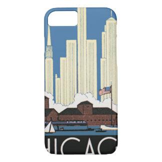 Coque iPhone 8/7 Le voyage vintage Chicago a tout horizon de ville