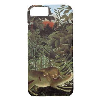 Coque iPhone 8/7 Lion affamé par Henri Rousseau, animal sauvage