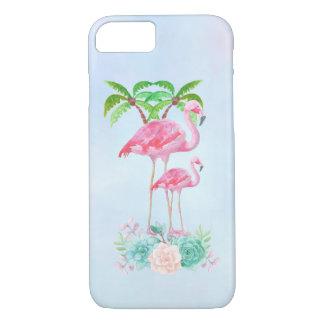 Coque iPhone 8/7 Mamans et bébé roses de flamant avec des palmiers