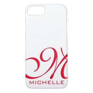 Coque iPhone 8/7 Manuscrit rouge blanc décoré d'un monogramme
