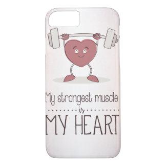 Coque iPhone 8/7 Mon muscle plus fort est mon coeur