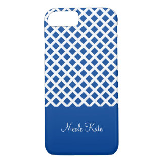 Coque iPhone 8/7 Monogramme carré de grille de bleu