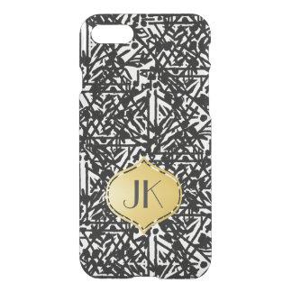 Coque iPhone 8/7 Monogramme de Bohème chic et insouciant d'or