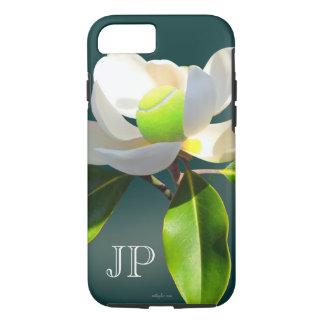 Coque iPhone 8/7 Monogramme de fleur de magnolia de tennis