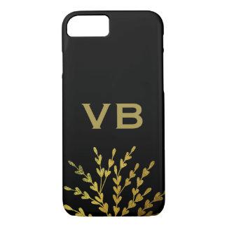 Coque iPhone 8/7 Monogramme noir d'or