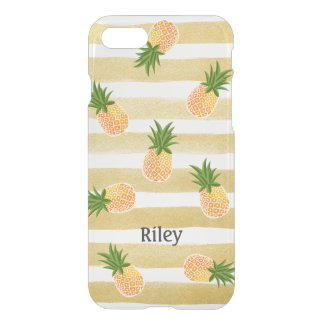 Coque iPhone 8/7 Motif à la mode d'ananas avec des rayures d'or