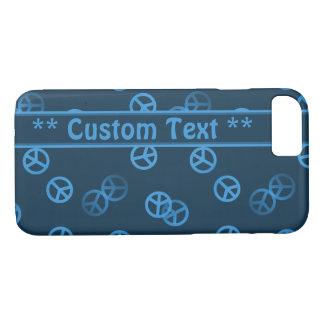 Coque iPhone 8/7 Motif bleu de signe de paix avec le texte fait sur