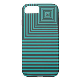 Coque iPhone 8/7 Motif carré par hypnose Teal et noir