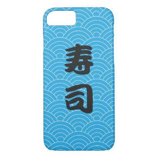 Coque iPhone 8/7 Motif de vague japonais turquoise avec des sushi