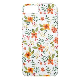 Coque iPhone 8/7 Motif floral orange, jaune, et rouge vibrant