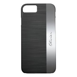 Coque iPhone 8/7 motif noir d'acier inoxydable avec le nom