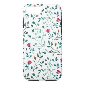 Coque iPhone 8/7 Motif rose de floraison d'aquarelle