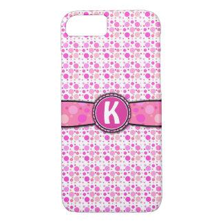 Coque iPhone 8/7 Motif rose Girly de monogramme de point de polka