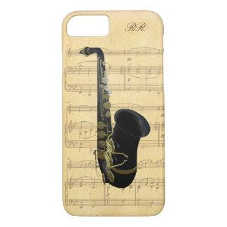 Coque iPhone 8/7 Musique de feuille noire de saxophone d'or