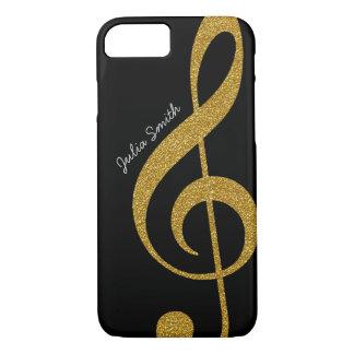 Coque iPhone 8/7 musique d'or personnalisée de clef triple