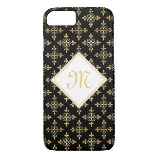 Coque iPhone 8/7 Noir de luxe et or Quatre de monogramme floral
