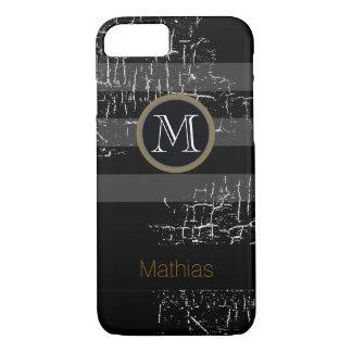 Coque iPhone 8/7 noir de monogramme barré