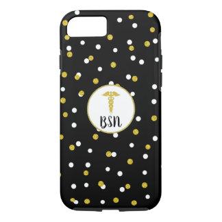 Coque iPhone 8/7 Noir d'infirmière de caducée de BSN + Confettis