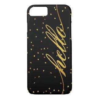Coque iPhone 8/7 Noir et scintillement d'or de Faux bonjour