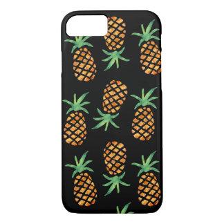 Coque iPhone 8/7 Noir tropical de motif d'ananas d'aquarelle