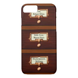 Coque iPhone 8/7 Nom en bois des tiroirs | de livre de catalogue