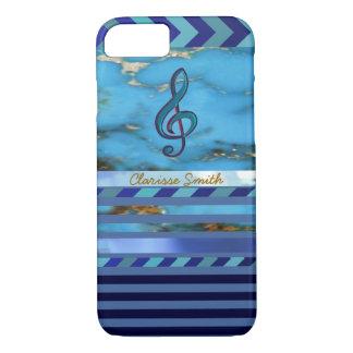 Coque iPhone 8/7 note de musique, rayures bleues et nom nouveaux