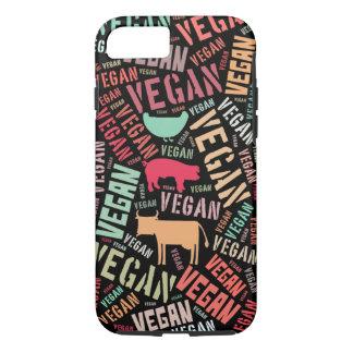 Coque iPhone 8/7 Nuage végétalien de mot avec une vache, un porc et