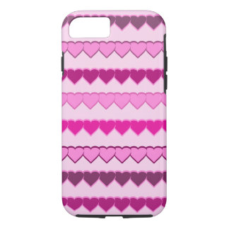 Coque iPhone 8/7 Nuances des rangées roses de coeur