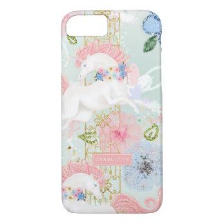 Coque iPhone 8/7 Or floral Girly de rose de licorne personnalisé