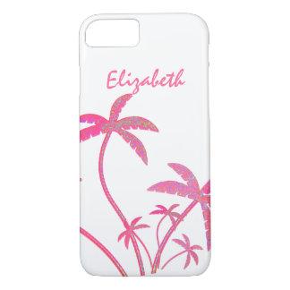 Coque iPhone 8/7 Palmiers roses de scintillement