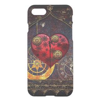 Coque iPhone 8/7 Papier peint vintage de coeurs de Steampunk