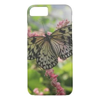 Coque iPhone 8/7 Papillon noir et blanc sur les fleurs roses
