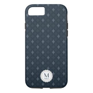 Coque iPhone 8/7 Petit monogramme - motif de bleu marine